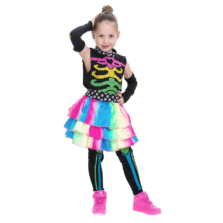 Amazon.com: Juego de disfraz de esqueleto colorido para ...