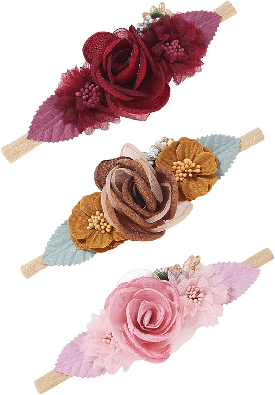 JMITHA Newborn Girls Headband Baby headbands Hair Wrap Cotton Elastic Baby Print Floral Hair Band Bow-knot