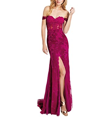 Womens High Slit Lace Long Prom Dresses 2018 Party Formal Gown Size 2 Fuchsia