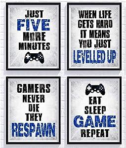 "Vidro Game Decor Set of 4 (8""X10""), Game Themed Art Print Room Wall Decoration Gift, Boys Bedroom, Gamer room, Kids room, No Frames(GAME)"