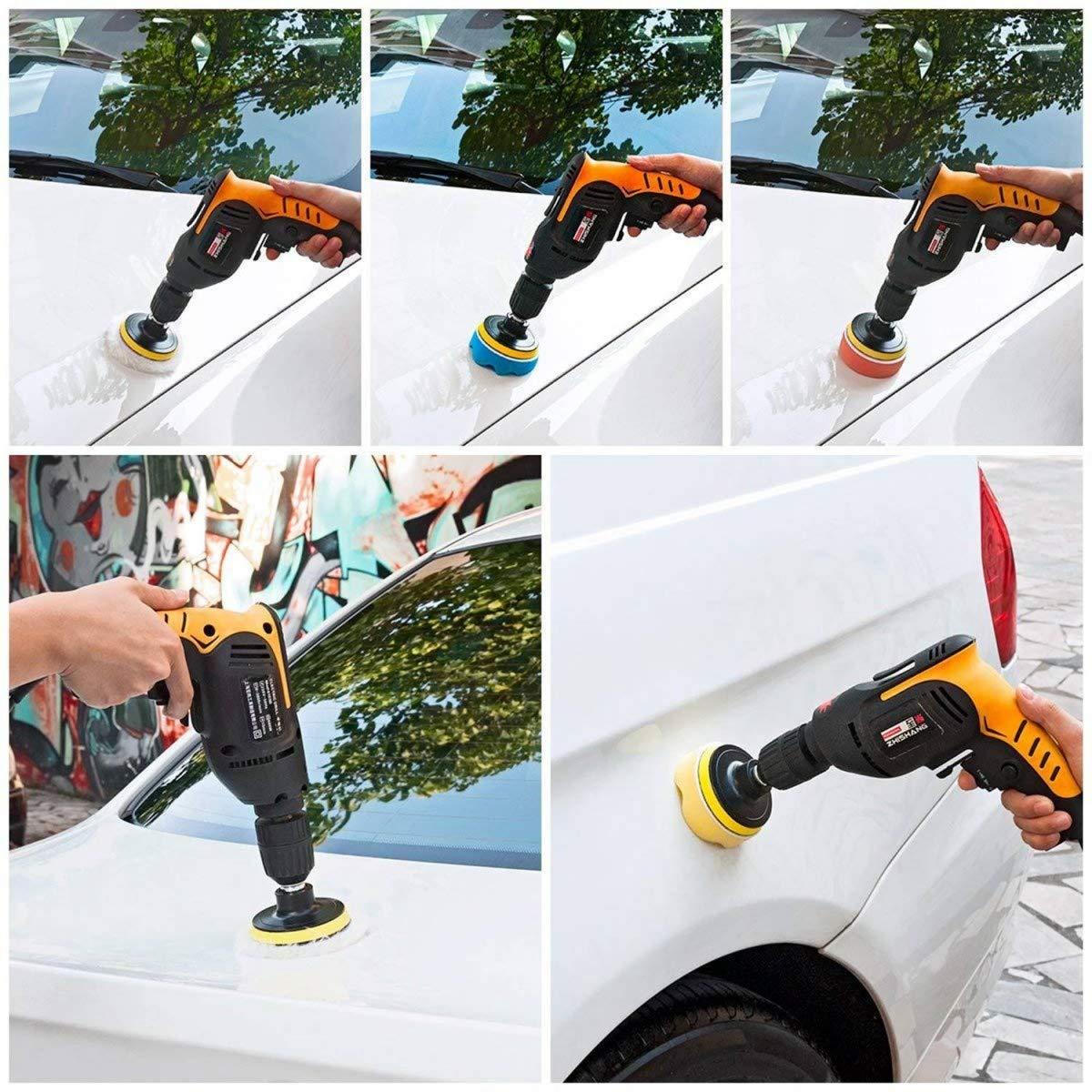 Kit tampone Spugna per lucidare Auto Macchina fari Auto e Parabrezza JZK Set 25 x spugnetta Spugna lucidatura Auto da 8 cm Spugna lucidatrice Auto con Adattatore per Trapano M10