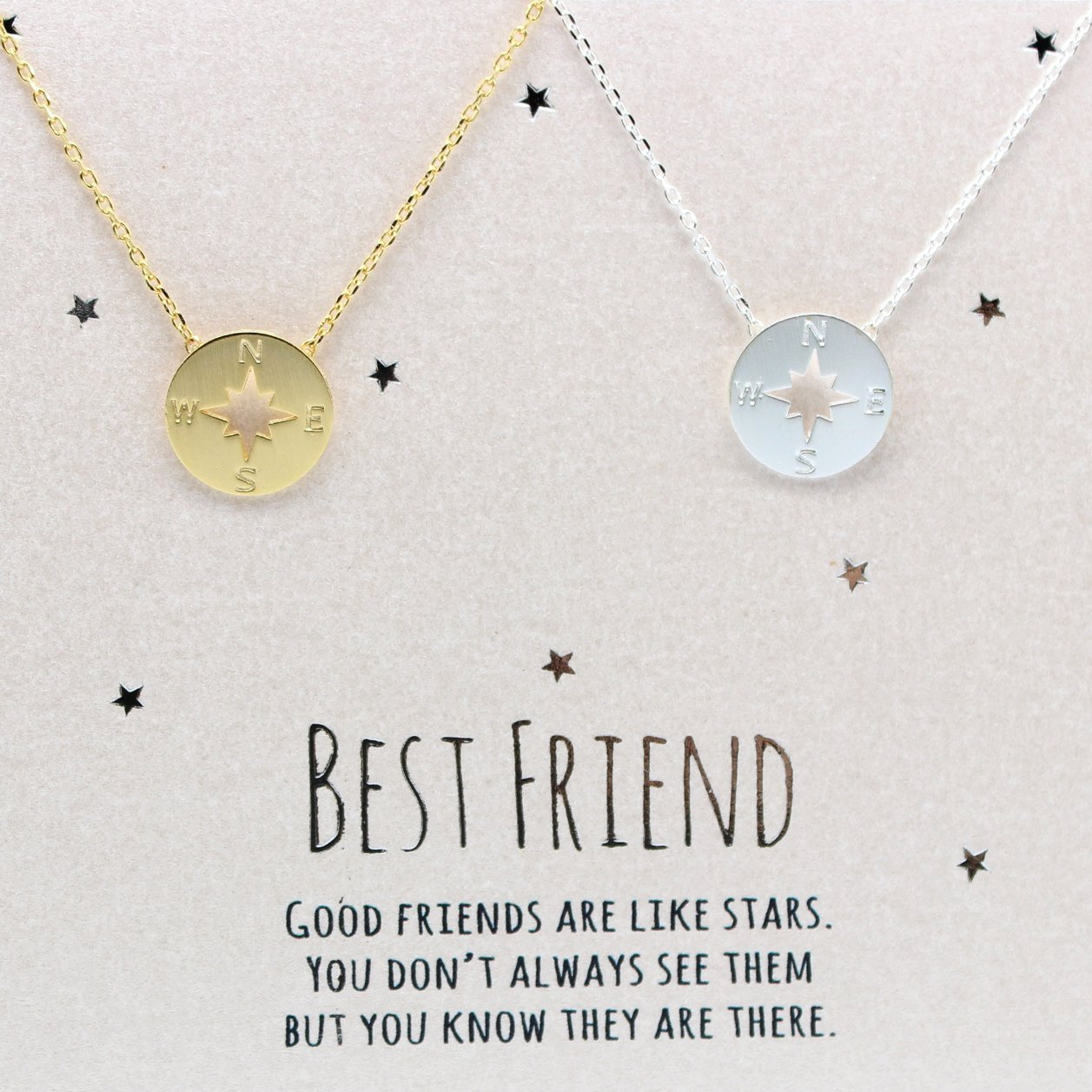 Amazon.com: compass necklace, Best friend necklace for 2, BFF ...