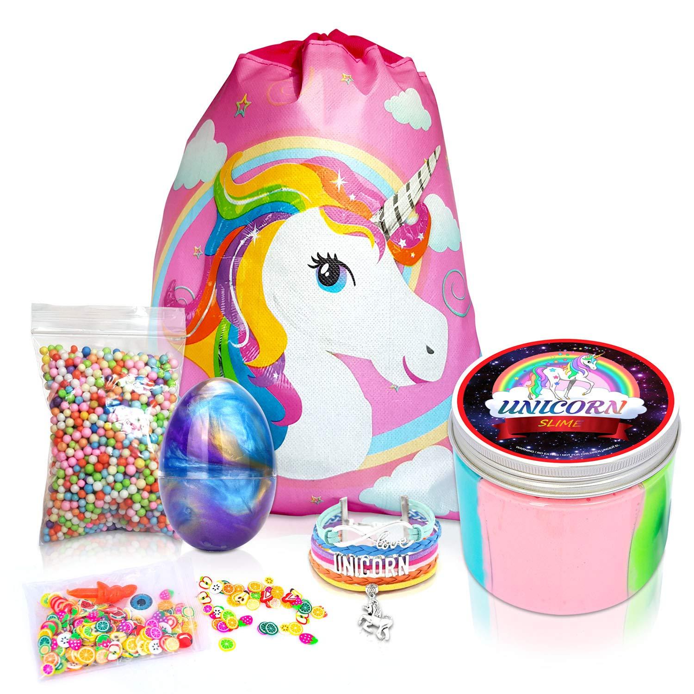 Unicorn Gifts - Premium 10oz Unicorn Slime + 6 Bonus Extras - Galaxy Egg, Eyes&Nose, Foam Balls, Fruit Slices, Unicorn Bracelet and Gift Bag Unicorn Gifts for Girls Unicorn Party Supplies Unicorn Toys by Banova