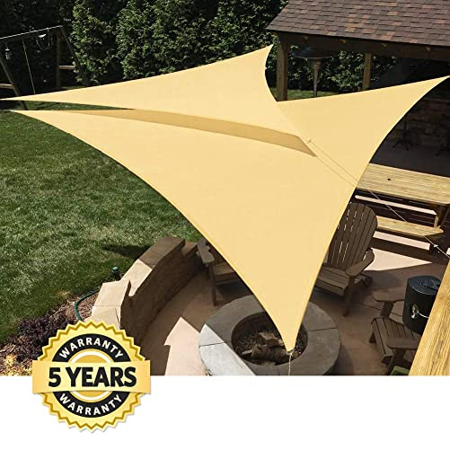 Quictent 185G HDPE Triangle Large Sun Shade Sail Canopy 98 UV Block Top Outdoor Cover Patio Garden Sand 20 x 20 x 20 ft, Sand