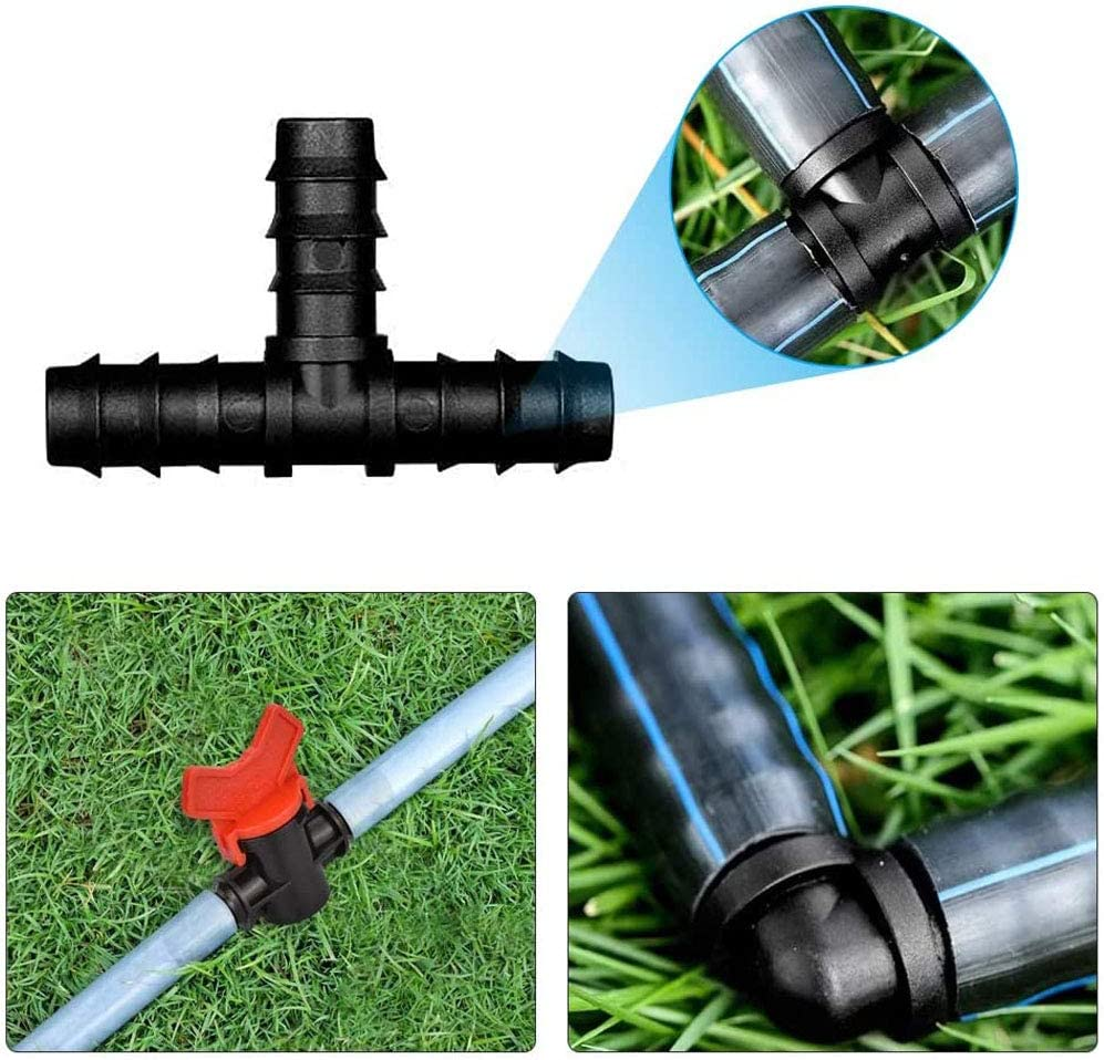 33 Pieces Plastic Barbed Elbow Hose Connector Plastic Irrigation Fittings Kit Tubing for Drip Sprinkler Systems YGHH Irrigation Fittings Kit Garden Black Plugs Barbed Connectors