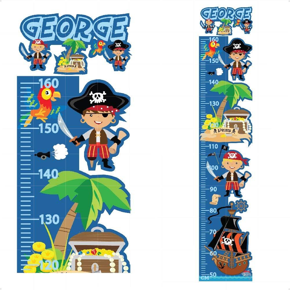Personalised Height Chart for Kids Pirates Sticker Growth Wall Decal Vinyl For Boys Bedroom Nursery Childrens Blue Grey | Colourful Wall Art for Height Measure | StickersMagic