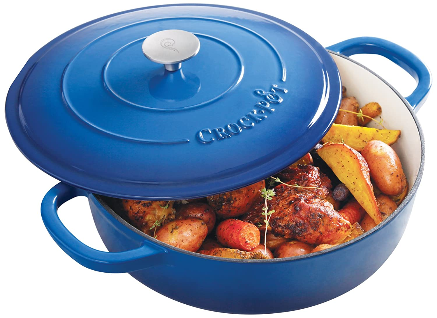 Crock Pot 111999.02 Artisan 5 Quart Enameled Cast Iron Braiser Pan, Sapphire Blue