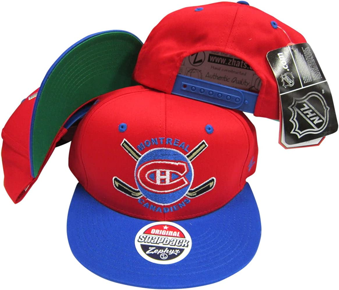 Montreal Canadiens Red//Blue Two Tone Plastic Snapback Adjustable Plastic Snap Back Hat//Cap