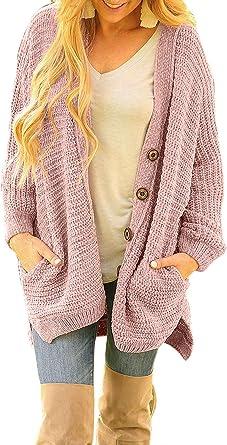 Sidefeel Women Button Down Sweater Coat Casual Open Front Oversized Cardigan Outwear