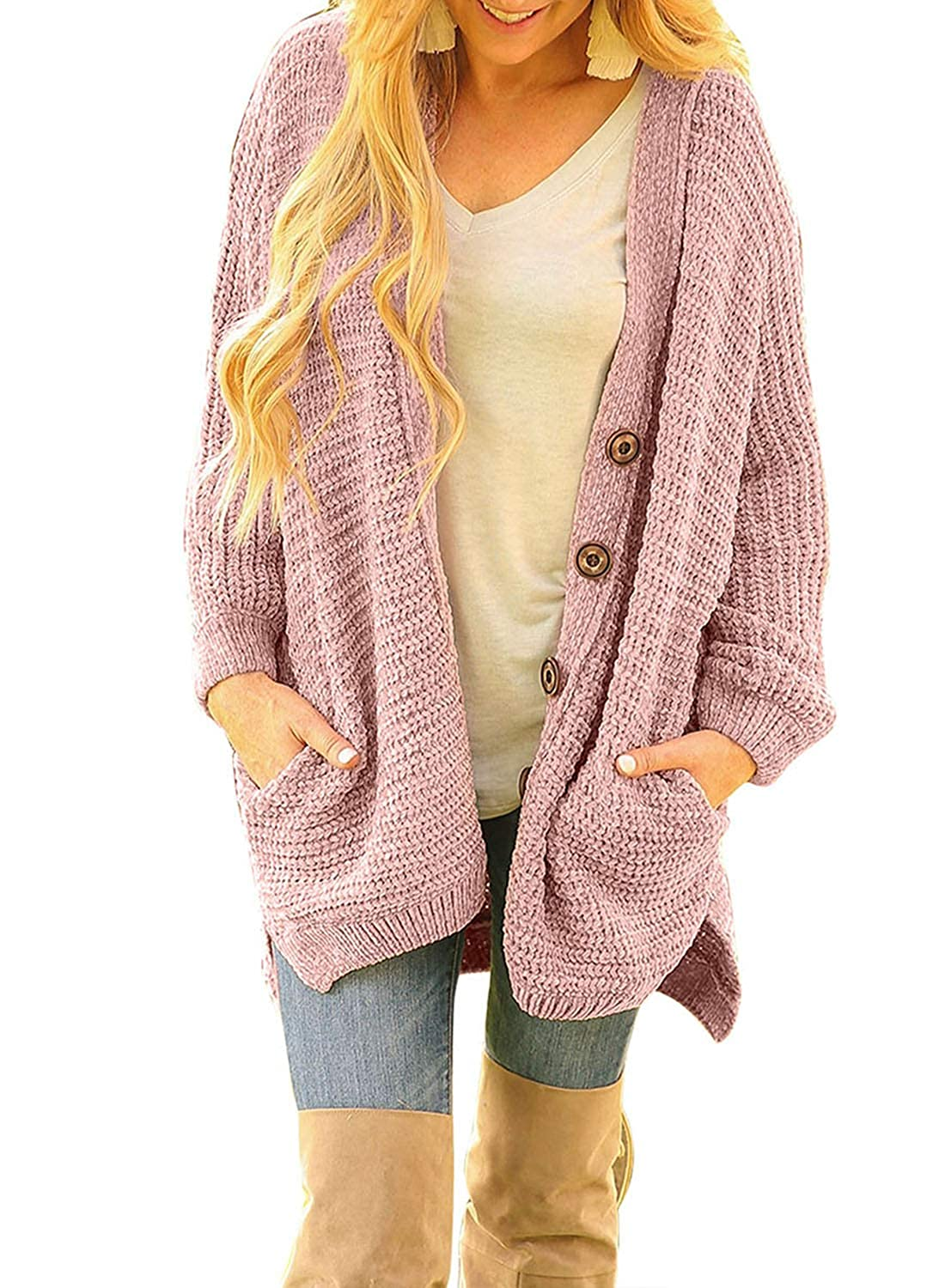 89c00bb73bf Sidefeel Women Button Down Sweater Coat Casual Open Front Oversized Cardigan  Outwear at Amazon Women s Clothing store