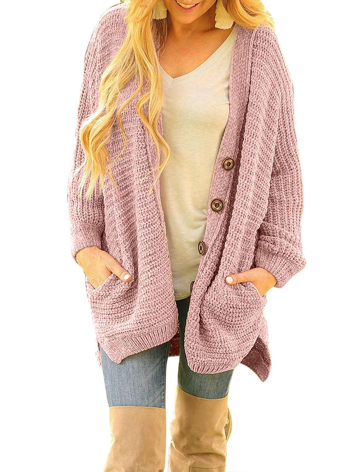 bac2bc57128a3 Sidefeel Women Button Down Sweater Coat Casual Open Front Oversized Cardigan  Outwear Large Pink