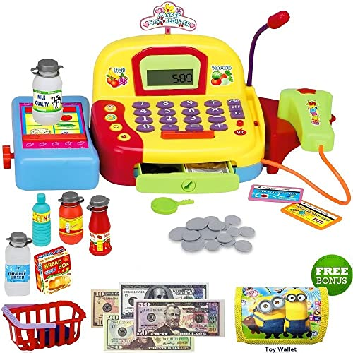 Toy Cash Register For Kids Pretend Supermarket Toy For Boys Or Girls Cashier Toy With Working Mic Scanner And Calculator Play Money Cash And Coins And More. Bonus Toy Wallet
