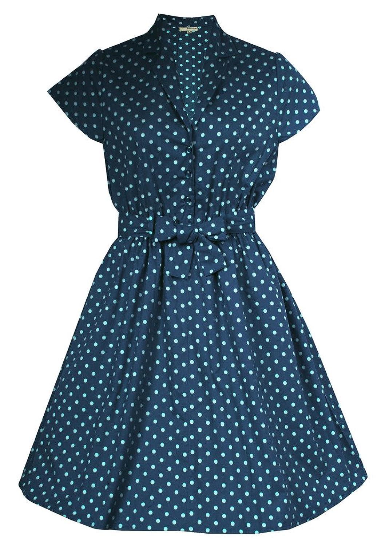 LADIES PLUS SIZE GREEN NAVY RED POLKADOT PINUP 1950'S ROCKABILLY VINTAGE SHIRT DRESS SIZE 14 - 28
