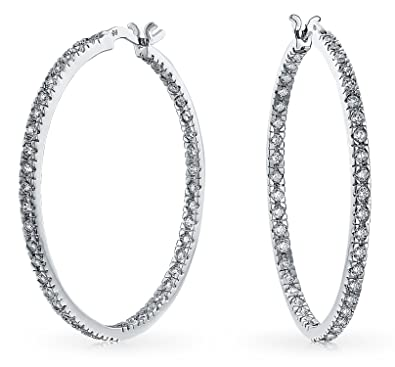 d008b5a0309176 Image Unavailable. Image not available for. Color: White Cubic Zirconia Pave  Thin Inside Out Big Hoop Earrings ...