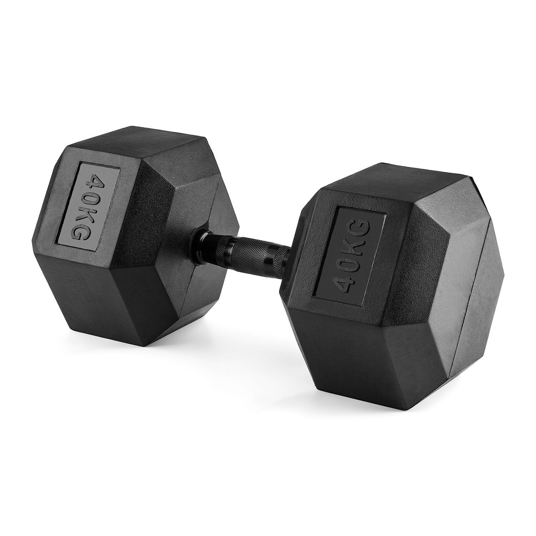 Capital Sports Hexabell Mancuerna hexagonal (pesa corta de 40 kg, recubrimiento de caucho, agarre antideslizante) - negro: Amazon.es: Deportes y aire libre