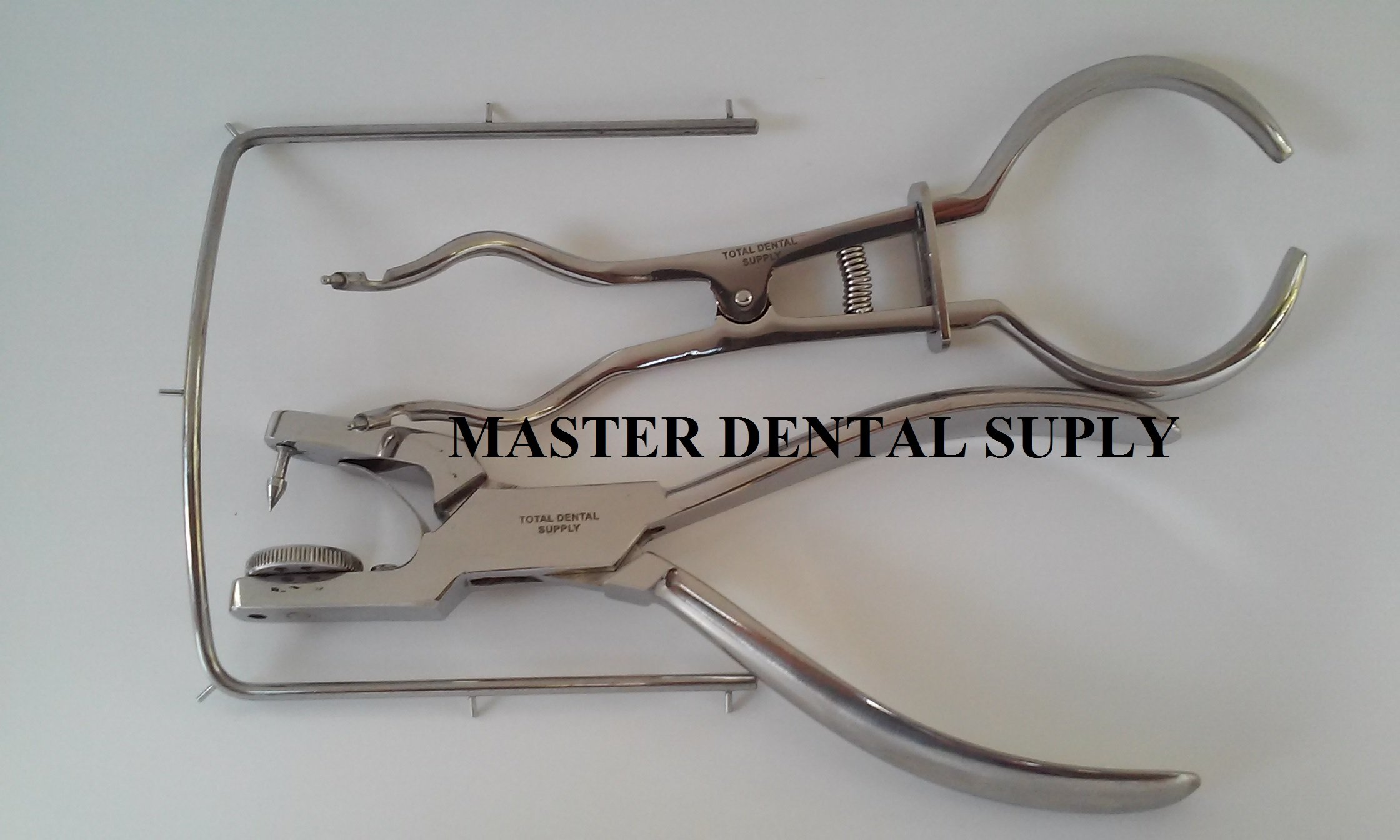 Dental Endo Rubber Dam Clamp COMPLETE KIT Inludes: 1 PUNCH AINSWORTH, 1 BREWER FORCEPS and 1 FRAME Stainless Steel Ships from USA
