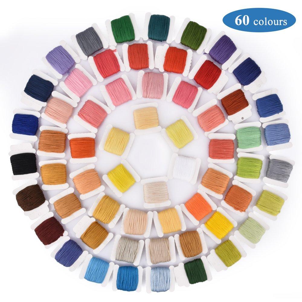 60 Hilos de color 12 por 18 Pulgadas Conjunto de Agujas y Reserva de 14 Piezas Classic Kit de Inicio de Bordado BASEIN Kit de Herramienta de Punto de Cruz que Incluye Aros de Bamb/ú de 5 Piezas