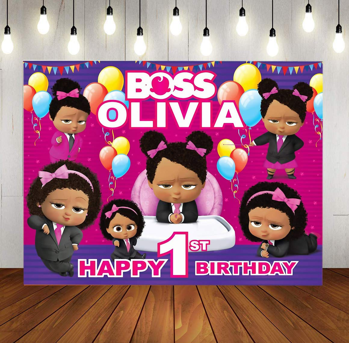 Tj Customized Pink Boss Baby Black Girls Theme Photography Background Balloon Daughter Baby Shower Birthday Party Photo Backdrops Kids Studio Booth