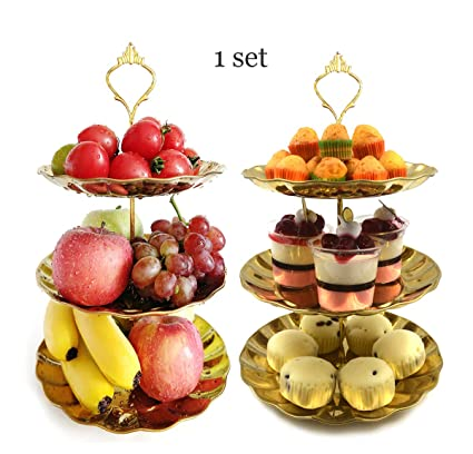 Amazon.com | 3 tier Cake Stand Fruit Tray Gold Stainless Fruit Plate ...
