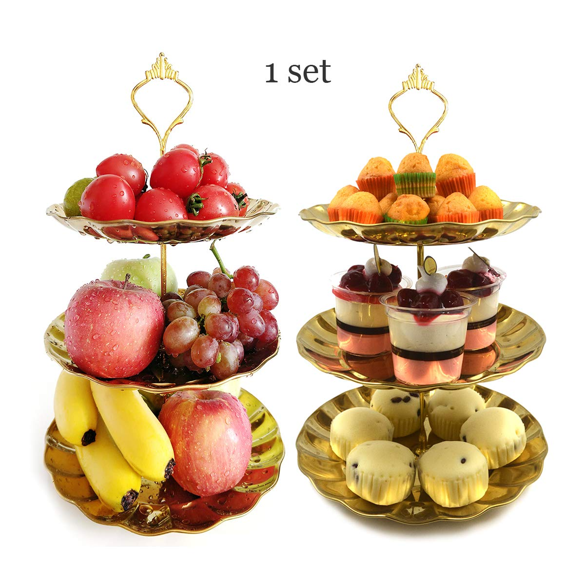 3 tier Cake Stand Fruit Tray Gold Stainless Fruit Plate Serving Tray Cupcake Stand for Wedding & Home & Birthday Party & Christmas