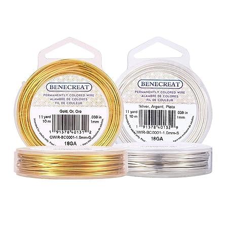 1mm de Di/ámetro BENECREAT Alambre de Cobre Cable Metal para Manualidad Resistente Plateado Calibre 18 10m//Rollo 2 Rollos