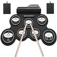 Muslady Tamaño Compacto USB Roll-Up Silicon Drum Set Kit de Batería Electrónica Digital 7 Drum Pads con Pedales para…