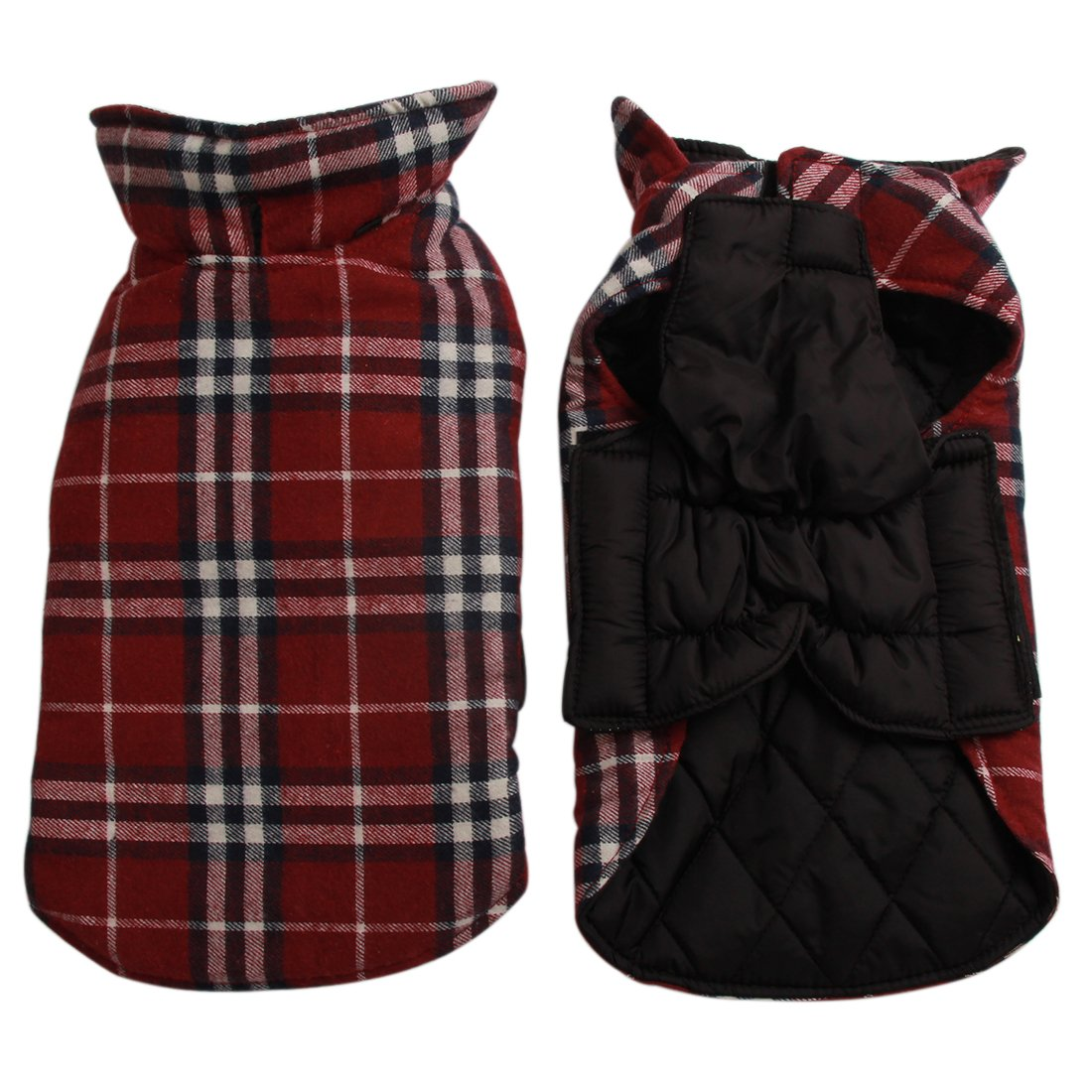 Red L Red L JoyDaog Reversible Plaid Dog Coat(7 Sizes)Waterproof Windproof Warm for Cold Weather Dog Jacket Red L
