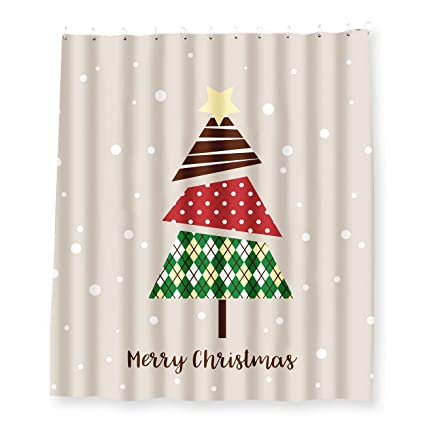 Christmas Shower Curtains Amazon.Juvale Christmas Shower Curtain Bathroom Shower Decorations Christmas Tree Sliding Shower Curtain Design With 12 Plastic Hooks 70 X 71 Inches