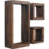 Juego de 3 estanterías retro en forma de cubo de madera shabby maciza marrón oscuro…