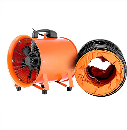VEVOR Utility Blower Fan 12 Inch Portable Ventilator High Velocity Utility Blower Mighty Mini Low Noise with 5M Duct Hose 12 Inch with 5M Duct Hose