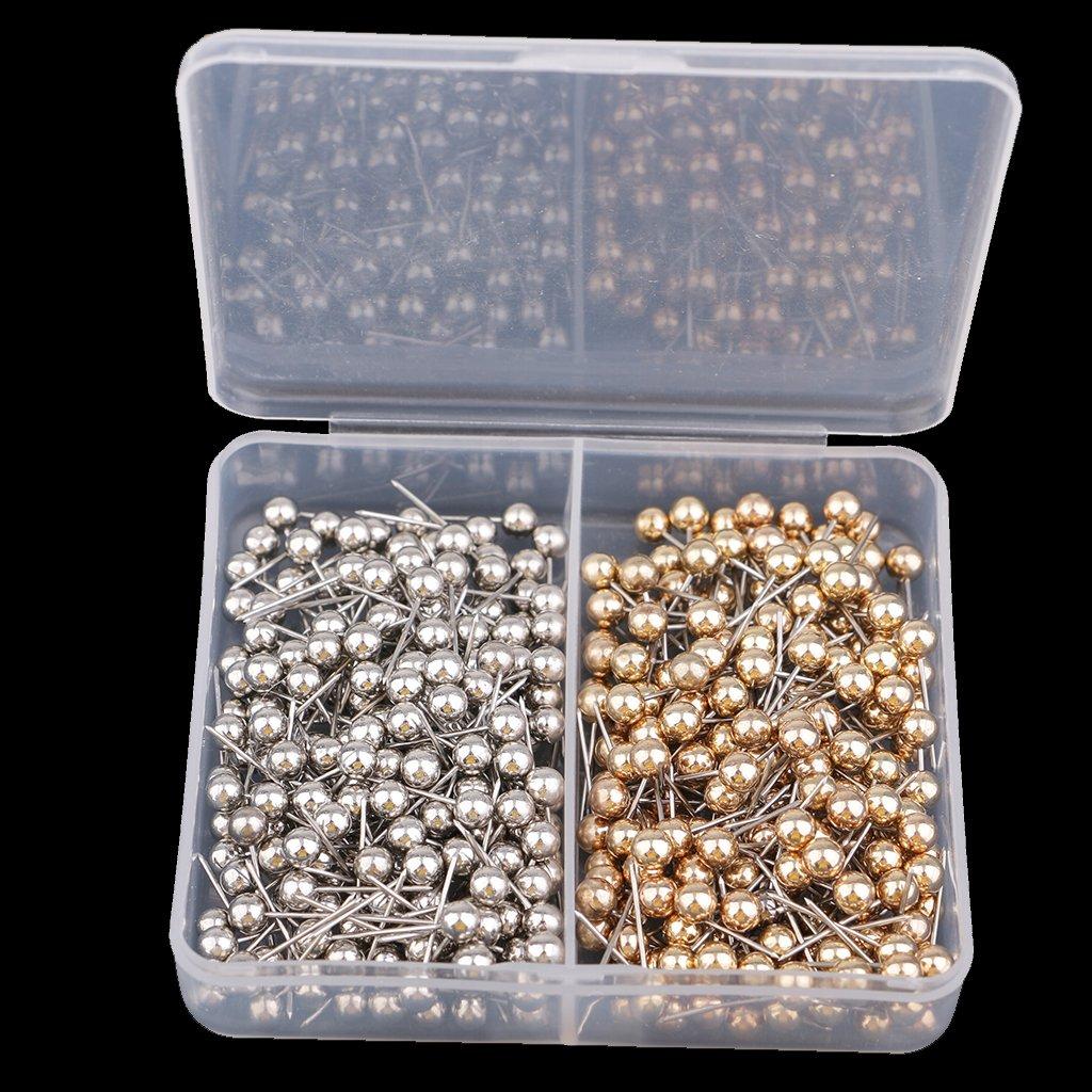 Sharplace 400er Pack Pinnwandnadeln Markierungszubeh/ör Pinnadeln Markierungsnadeln Stecknadeln Rei/ßn/ägel Plastik Kopf mit Stahl Punkt Silber Gold