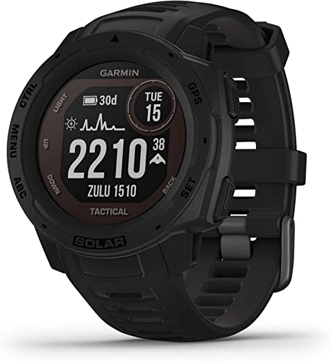 Garmin Instinct Solar Tactical, Solar-Powered Rugged Outdoor Smartwatch with Tactical Features, Built-in Sports Apps and Health Monitoring, Black (010-02293-13)