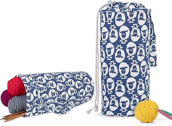 Luxja Organizador Lanas Bolsa Para Tejer Bolsa Ganchillo Almacenamiento Para Agujas De Tejer Hasta 14 Pulgadas Bolsa Para Hacer Puntos Y Guardar Accesorios De Crochet Kembaraservin