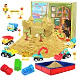 Construction Moving Sand Kit - Kenlaimi Play Sand for Kids - Construction Vehicle Playset - 2lbs Play Sand 6 Mini Construction Trucks 10 Road Signs with Foldable Sandbox Birthday Gifts for Boys Girls