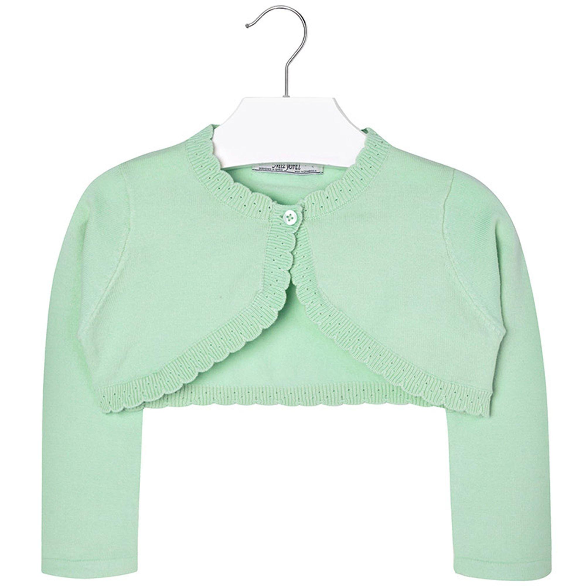 Mayoral Girls 2T-9 Apple-Green Scallop Edge Knit Shrug Cardigan Sweater, Apple,4