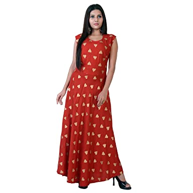 fabcolors Women s Rayon Gold Heart Print Long Dress (Red fdacf9290