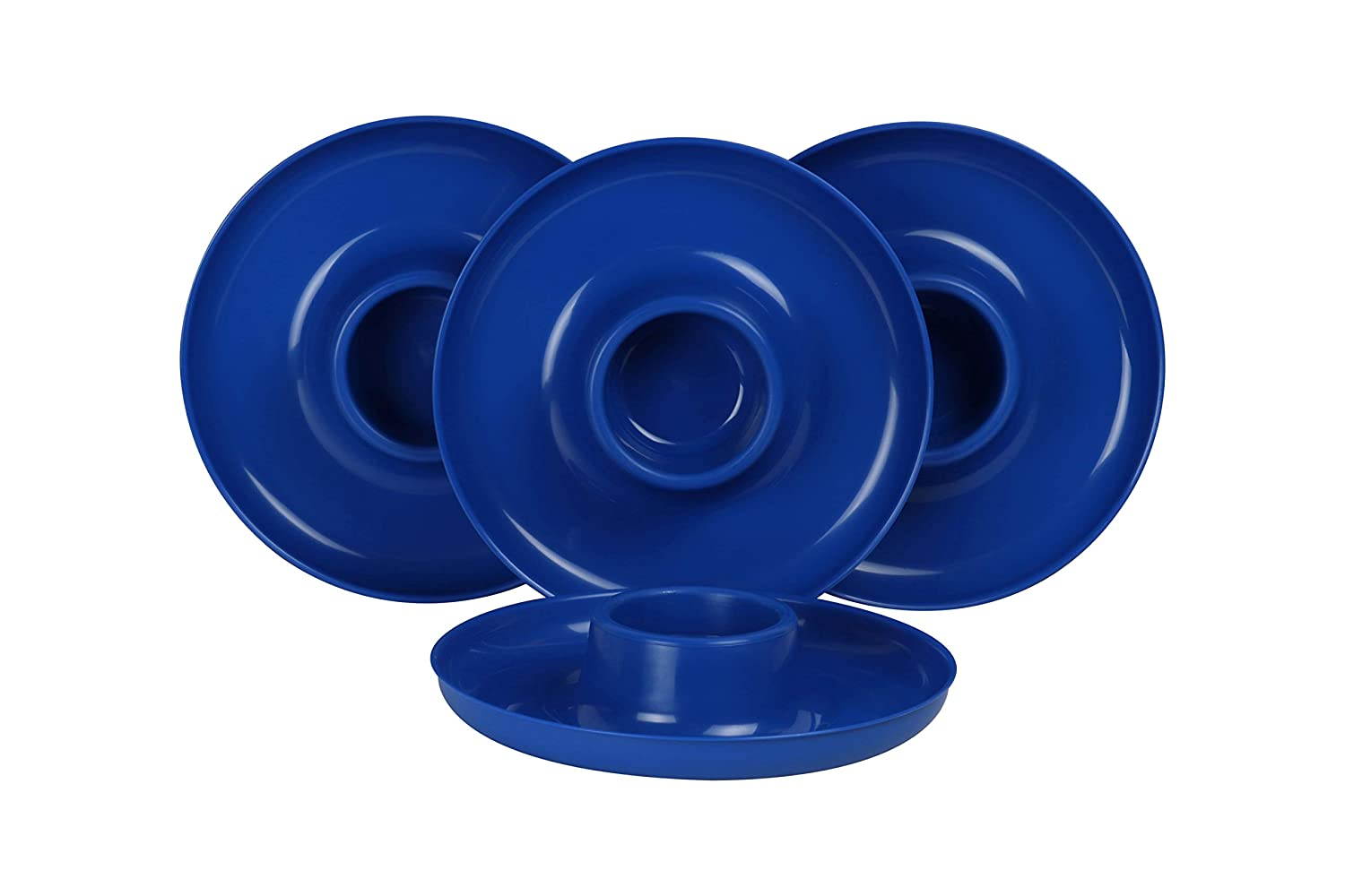 GreatPlate GP-BLU-4PK AZ Blue Plate 4-Pack, 4 Blue GreatPlates, Food Tray and Beverage Holder, Dishwasher Safe, Microwave Safe, Made in USA, Picnics, Parties, Tailgates, Appetizers, Great for Kids