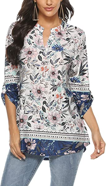 Othyroce Womens Floral Printed Tunic Tops 3//4 Roll Sleeve V Neck Blouse Shirt Tunics for Women