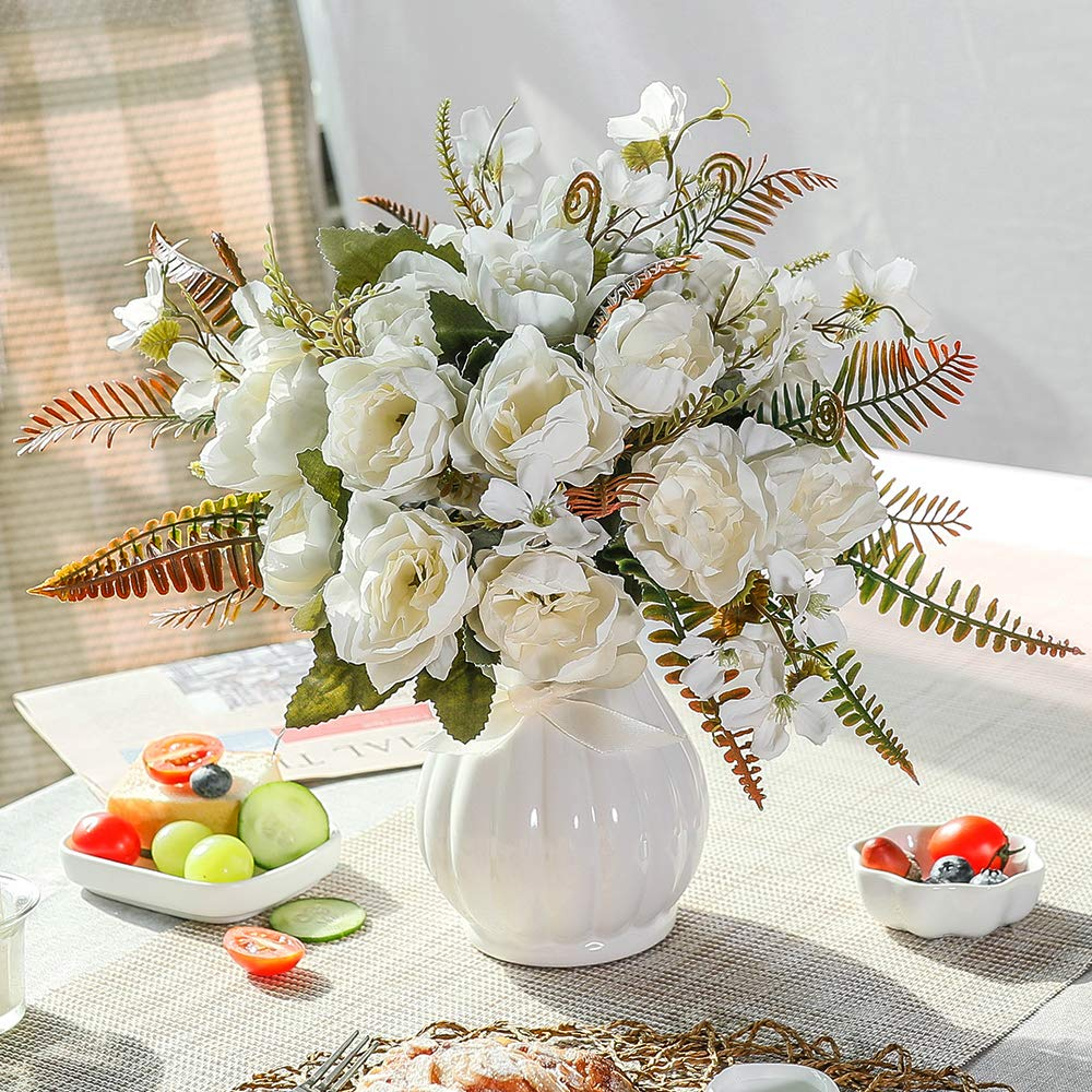 LESING Artificial Peony Bouquets with Ceramic Vase Silk Flowers for Wedding Home Table Centerpiece Decoration (White)