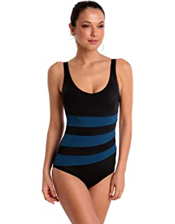 ae6de4e383296 Halocline Iris Longer Length One Piece Swimming Swimsuit - Black and Peacock