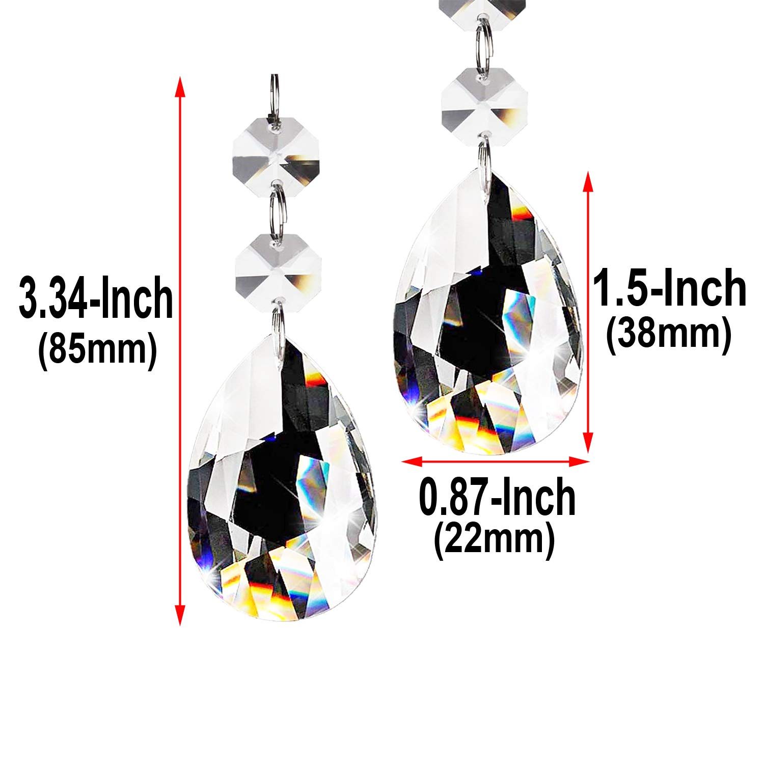 30pcs Chandelier Crystals Beads Clear Glass Teardrop Pendants Crystal Chandeliers Parts Beads for Chandeliers