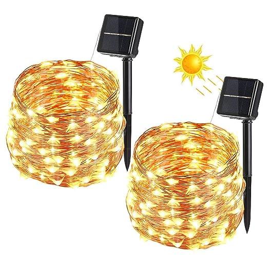BrizLabs Cadena Luces Solares 2 Paquete 100 LEDs 10m Guirnalda Luces Solares Exterior Impermeable Iluminación Alambre