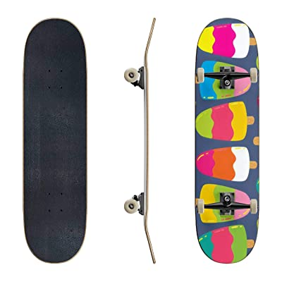 EFTOWEL Skateboards coloe Vector Pattern with ice Cream ice Cream Seamless Stock Classic Concave Skateboard Cool Stuff Teen Gifts Longboard Extreme Sports for Beginners and Professionals : Sports & Outdoors