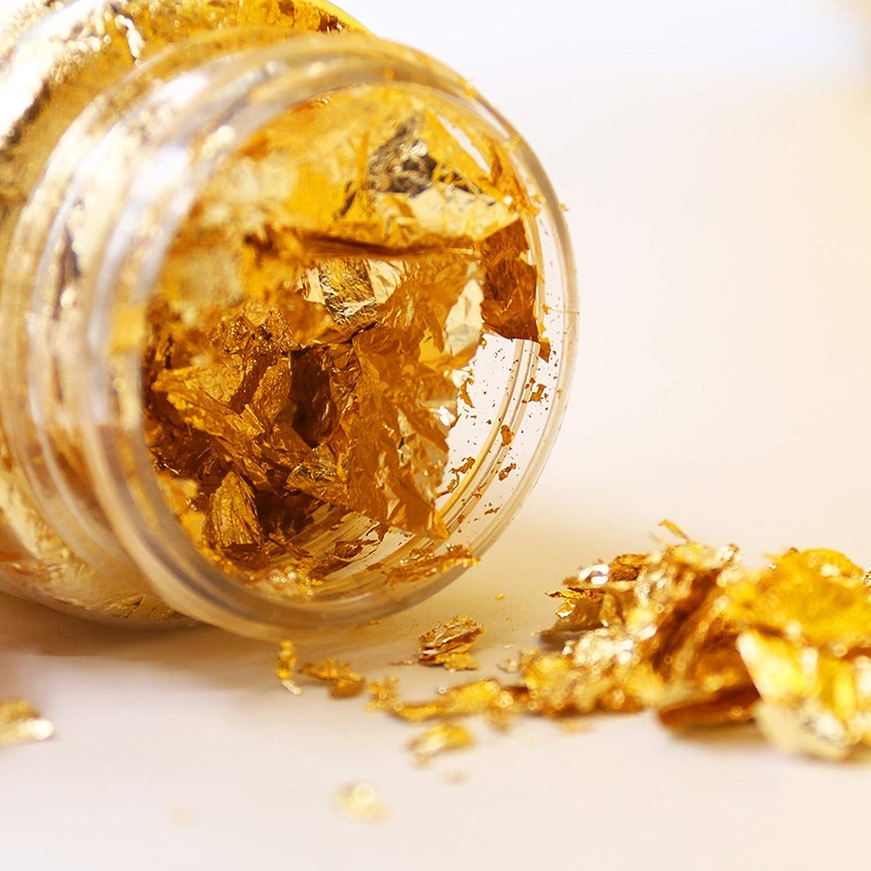 3G//Bottle Hojuelas de pan de oro Hoja de papel de oro de imitaci/ón de 2 botellas para artesan/ía dorada,muebles de trabajo de arte y artesan/ía,proyecto de arte de bricolaje,arte de resina