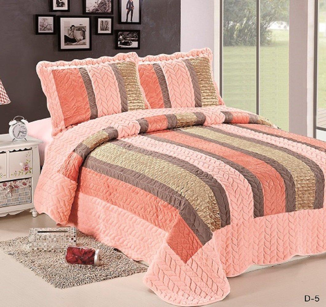 WPMベルベットキルトセットリバーシブルスエードベッドスプレッドフル/クイーンサイズベッド寝具Coverletsカバーwith Pillow Cases queen, full ピンク B0719JWPY9 Peach/Gold/Pink D5