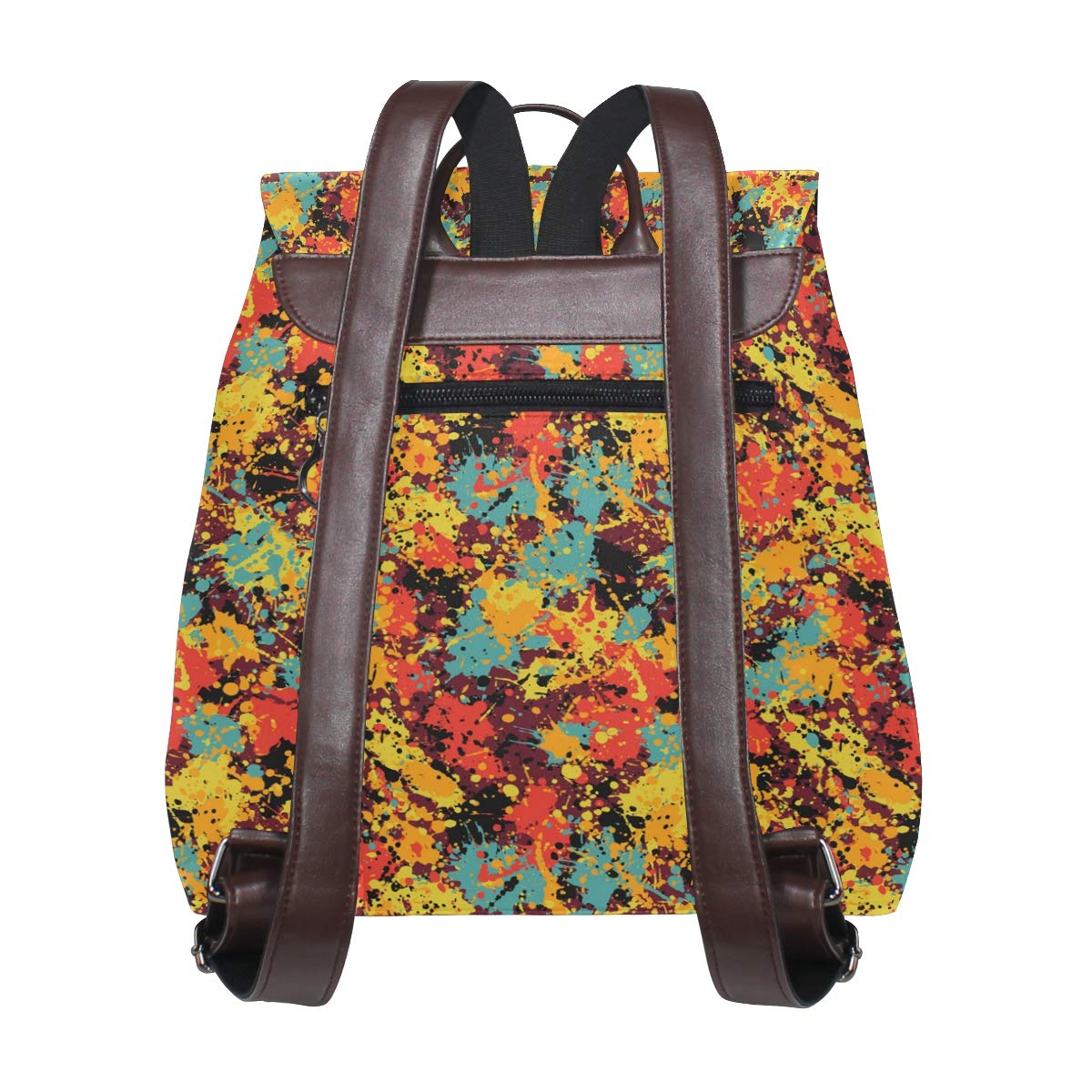 Unisex PU Leather Backpack Camo Gifts for Women Colorful 1 Print Womens Casual Daypack Mens Travel Sports Bag Boys College Bookbag
