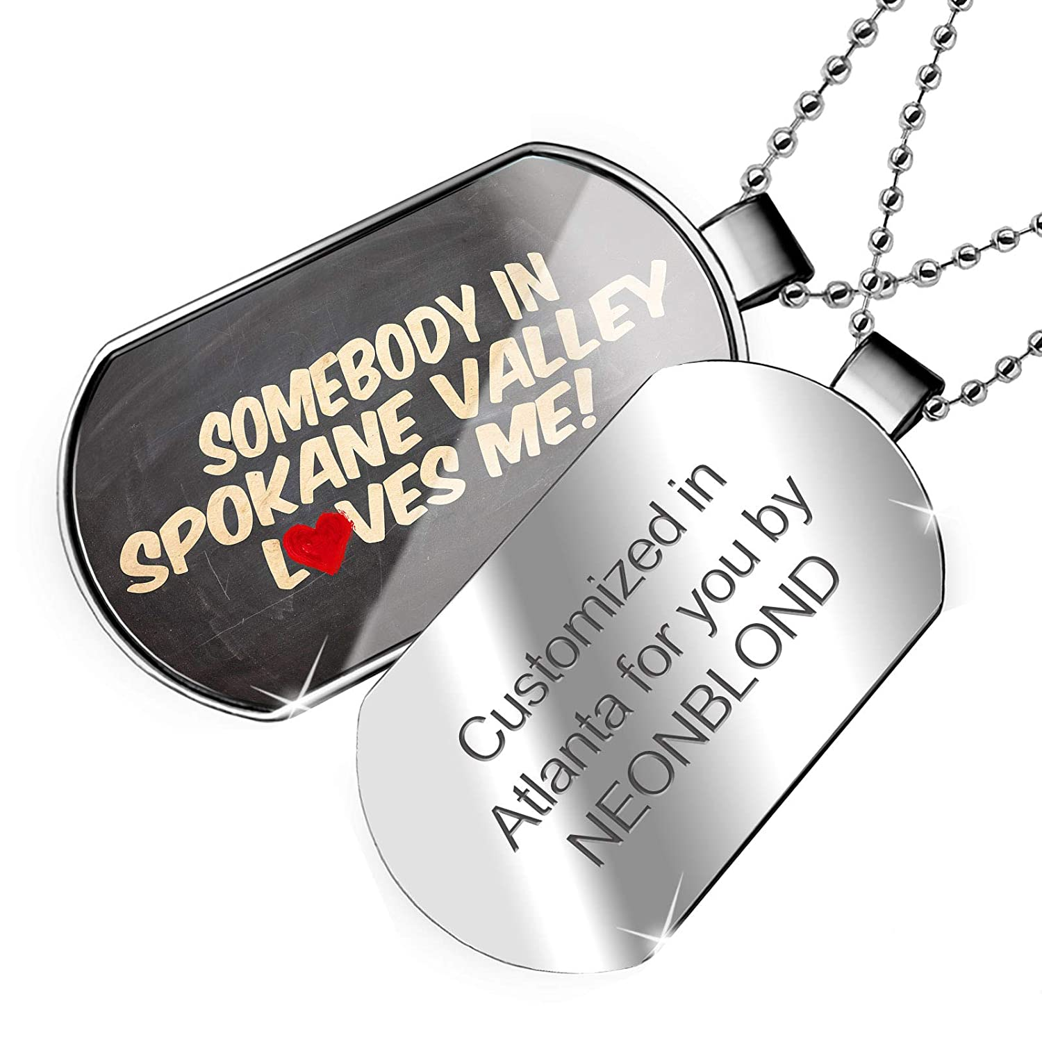Washington Dogtag Necklace NEONBLOND Personalized Name Engraved Somebody in Spokane Valley Loves me