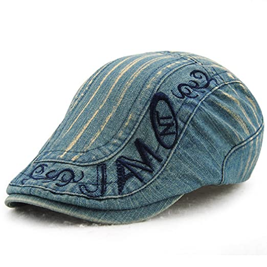 0bb047ce4d39f Jamont Men s Summer Cool Denim Patchwork Flat Visor Newsboy Beret Cap Hat  at Amazon Men s Clothing store