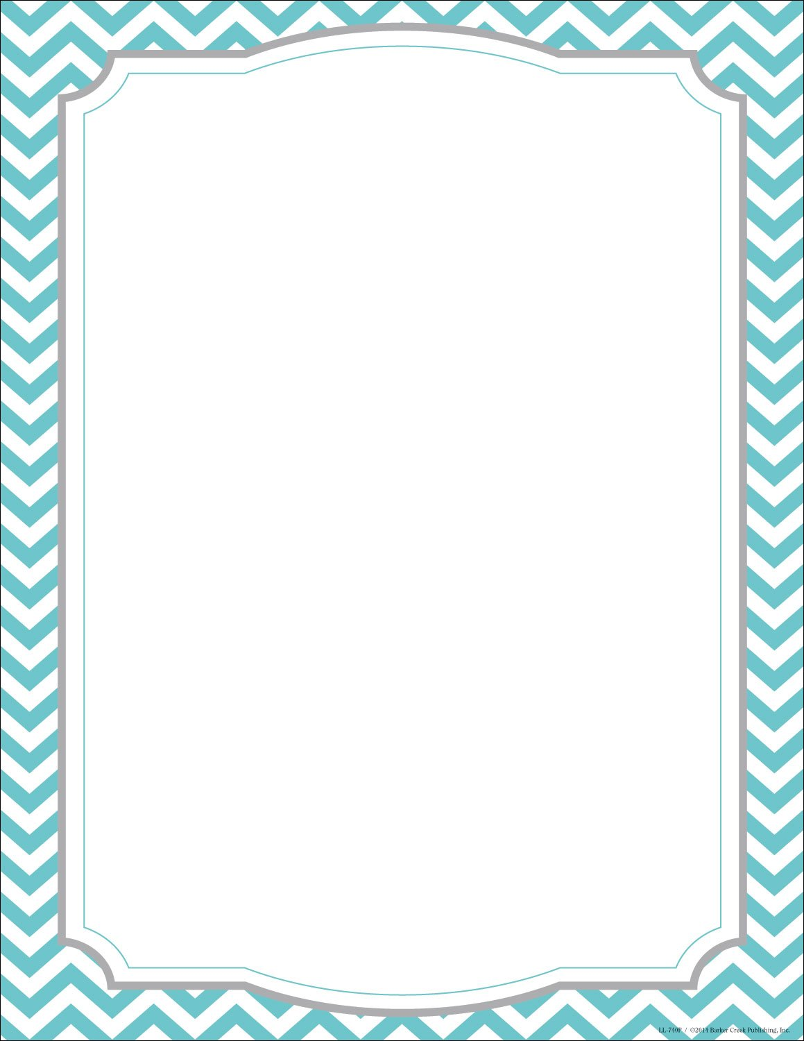 Barker Creek Turquoise Chevron Computer Paper, 8-1/2' x 11', Pack of 50