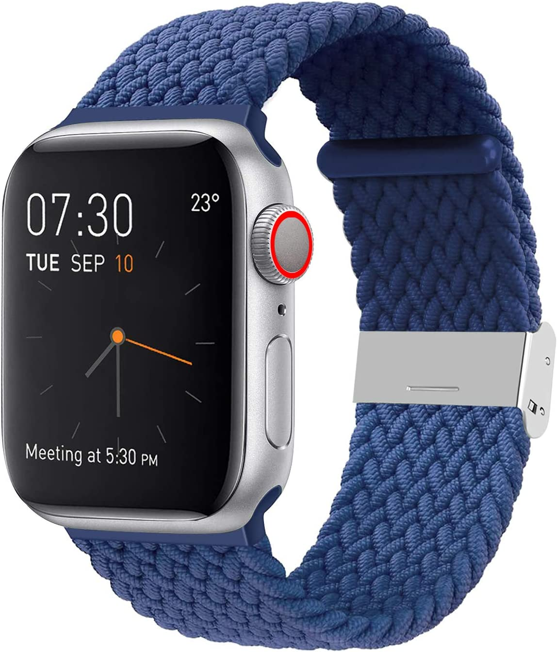YOTAN Braided Solo Band Compatible with Apple Watch 38mm 40mm, Adjustable Soft Stretch Sport Elastics Women Men Loop Strap Compatible with iWatch Series 6/5/4/3/2/1 SE Blue